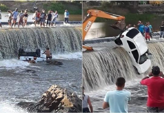 Nordestina: Motorista perde o controle de carro e cai dentro de barragem